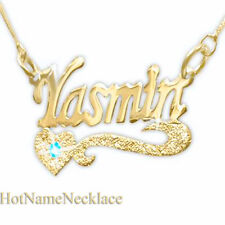 Personalized Name Necklace,14K Solid Gold Heart Sparkling Underline & Stone