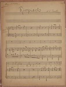 ENRICO TOSELLI RIMPIANTO CANTO PIANO PIANOFORTE SPARTITO MANOSCRITTO ANNI '30