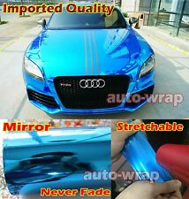 "Super Stretchable Glossy Car Mirror Chrome Blue Vinyl Wrap Sticker AC 12"" x 60"""