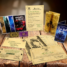 PERSONALISED HOGWARTS HARRY POTTER BIRTHDAY GIFT SET ACCEPTANCE LETTER + MORE