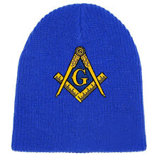 Masonic Hat Winter - Royal Blue Beanie Cap - Golden Standard Masons Symbol