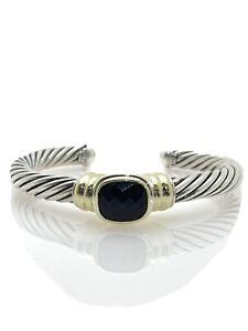 David Yurman Sterling Silver and 14k Gold Onyx Station Cable Cuff Bracelet