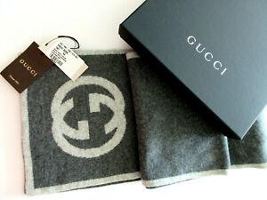 NEW Gucci 548247 100% Cashmere Interlocking GG Scarf Muffler Grey W Gucci Box