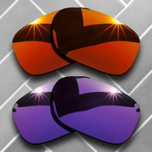 2 Packs Replacement Lenses for-Oakley Twoface Polarized-Fire Red&Plum Purple