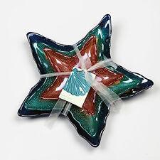 Akcam Turkish Glass Nautical Sea Starfish Handblown Decorative Plates Set of 3