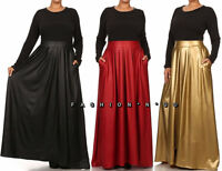 Plus Size Two-Tone Faux Leather Skirt Combo Maxi Dress