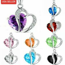 Womens Heart Pendant Necklace Purple Blue Fashion Zircon Crystal 925 Silver