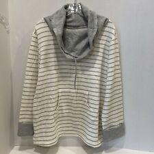 Pajamagram Hoodie Gray White Stripes Pockets