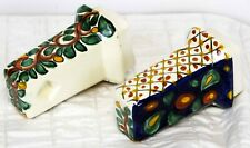 Mexican Talavera Bathroom Toilet Paper Roll Holder Wall Mount Ceramic Vines Blue