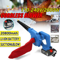 2000W Cordless Leaf Blower 20800mAh Battery &Charger Dust Sweeper Vacuum Cleaner