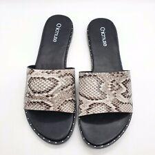 Women Snake Print Peep Toe Low Heel Sandals Ladies Flat Slide In Slippers