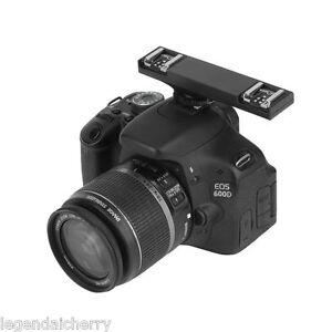 WS Dual Hot Shoe Flash Speedlite Light Bracket Splitter for Canon DSLR TTL 2C