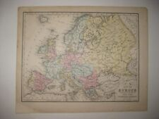 ANTIQUE 1874 EUROPE MAP RAILROAD RUSSIA AUSTRIA GERMANY PRUSSIA ITALY FRANCE NR