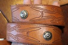 EMBROIDERED STUDDED LEATHER WESTERN COWBOY BELT 28-30