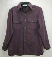Vintage Woolrich Mens Wool Button Shirt Jacket Sz Medium Red Blue Plaid Hunting