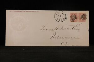 Ct: Tolland 1860s #65 Pair Fire Insurance Double Weight Cover, Fancy Cancels