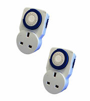 2 x 24 HOUR 24HR MAINS PLUG IN TIMER SWITCH TIME CLOCK SOCKET UK 3 PIN LIGHTS