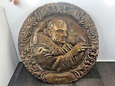 More details for vintage large brass pope john xxiii metal wall plaque religious catholic rare
