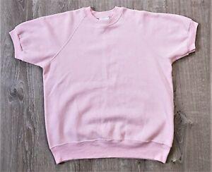 Vintage 90s LEE Short Sleeve Blank Pink Raglan Sweatshirt 1990s USA Made 50/50 M