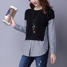Korean Spring Women Long Sleeve Fashion Striped False Two Pieces Shirt Tops New