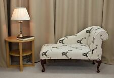 """41"""" Small Chaise Longue Chair in a Stag Cotton Print Fabric   - FREE UK DEL"""