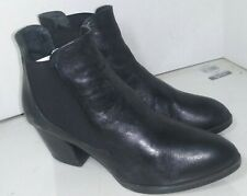 ERIC MICHAEL Women's Black Leather Ankle Boots Booties Womens Size 38 Spain
