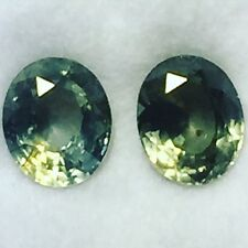 Natural 5.61 Carats Green Sapphires 2 Pcs. Oval Matching Pair Loose Gemstones