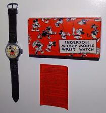 DISNEY1935 INGERSOLL MICKEY MOUSE WRISTWATCH+LEATHER BAND-RARE N.MINT BOXED SET