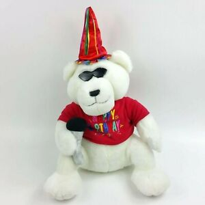 Zoo Tunes Birthday Bear SINGS NEW with Tags Rare Collectible Plush Toy 19 inch