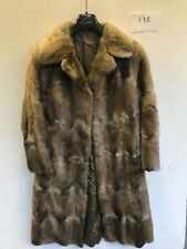 "Vintage Ladies REAL FUR Coat in Brown Armpit/Armpit 21"" Length 47"" (f75)"