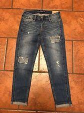 NWTHollister Boyfriend Destroyed Dark Wash Patch Jeans size 23/00 Also Fits 24/0