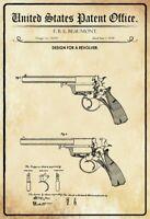 US Patent Revolver 1858 Blechschild Schild gewölbt Metal Tin Sign 20 x 30 cm