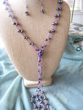 "LADIES' 42"" MULTISTRAND PURPLE IRRIDESCENT LARIAT BEADED LONG TRENDY NECKLACE"