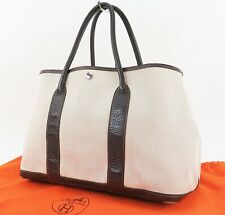 Authentic HERMES Toile H Beige and Brown Garden Party Tote Bag Purse #32592