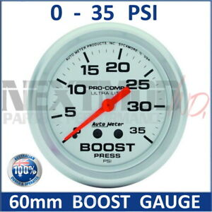 """60mm BOOST Gauge 0-35 PSI Silver Face Auto Meter Pro-Comp Liquid Filled 2-5/8"""""""