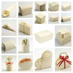 Ivory Silk Favour Boxes and Ballotins Luxury DIY Wedding Party Gifts - Box Only