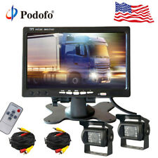 """For Truck RV Car Bus 2x Wired Rear View Backup Camera System + 7"""" Monitor 12-24V"""