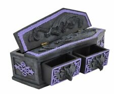 More details for gothic coffin & dragon trinket box - 3 compartments + 2 drawers - unique item!