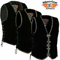Men's Motorcycle Harley Style Spanish Braid Suede Vest with Clips Size XS to 6XL