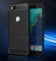 For Google Pixel 2 Carbon Fibre Gel Case Cover & Glass Screen Protector