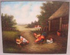 """Hand Painted Oil Painting - Farmyard Scene Chickens  - 10"""" x 8"""""""