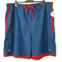 Beverly Hills Polo Club Mens Size 4X Blue Red Cargo Hybrid Swim Trunk Shorts New