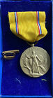 WWII US ARMY AMERICAN DEFENSE MEDAL RING TOP SERVICE RIBBON BAR WW2-AS SHOWN PIC