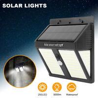 250 LED Luce Solare faretto lampada parete sensore movimento PIR per esterni