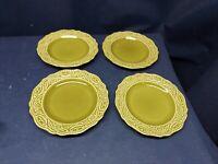 "Vintage Mid-Century Canonsburg Pottery ""REGENCY GREEN""Set/4 Dessert/Salad Plates"