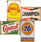 Tin Signs 4 Pieces Reproduction Vintage, Gas Oil Car Metal Signs for Garage Man