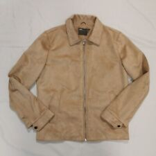 ASOS Mens Faux Suede Tan Zip Front Lightweight Jacket Sz Small Zip Up Polyester