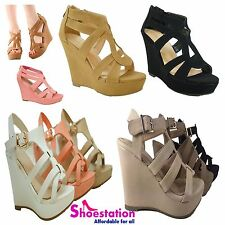 Women's Fashion Open Toe Strap Buckle Platform Wedge Sandal Shoes NEW Size 5-10