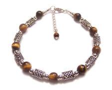 Sterling silver Tigers eye bracelet celtic knotwork brown gemstone gem stone