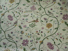 Sanderson Curtain Fabric RANEE 5.45m Plum/Linen Printed Embroidery Design 545cm